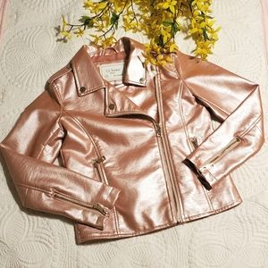 Girls Pink Faux Leather Jacket